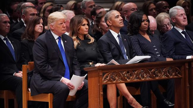President Trump and the four living former US presidents were among those in attendance. Picture: Mandel Ngan/AFP