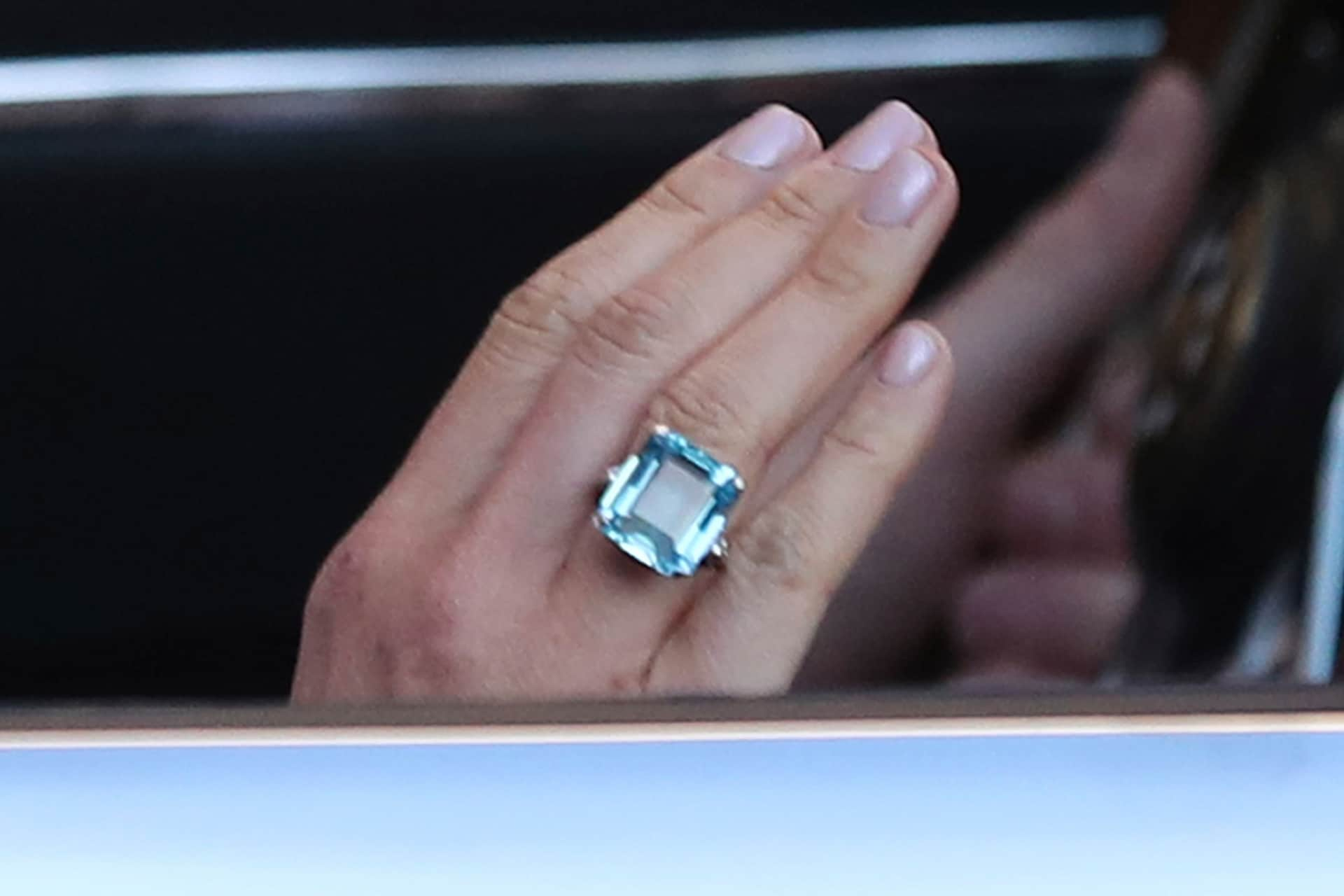 Princess Diana's aquamarine ring worn by Meghan Markle. Image credit: Getty Images.