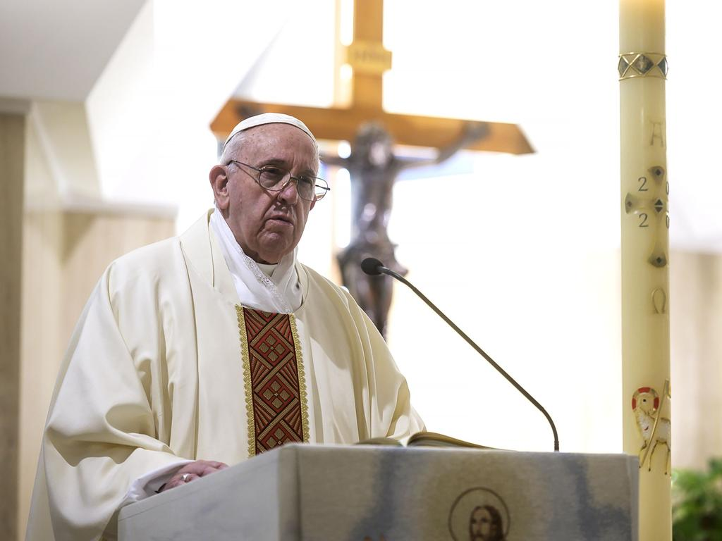 The Pope has been holding a private livestreamed morning mass at the Santa Marta chapel in The Vatican. Picture: AFP