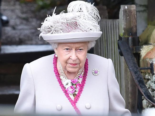 Britain's Queen Elizabeth II departs the Royal Family's traditional Christmas Day service at St Mary Magdalene Church in Sandringham. Picture: AFP