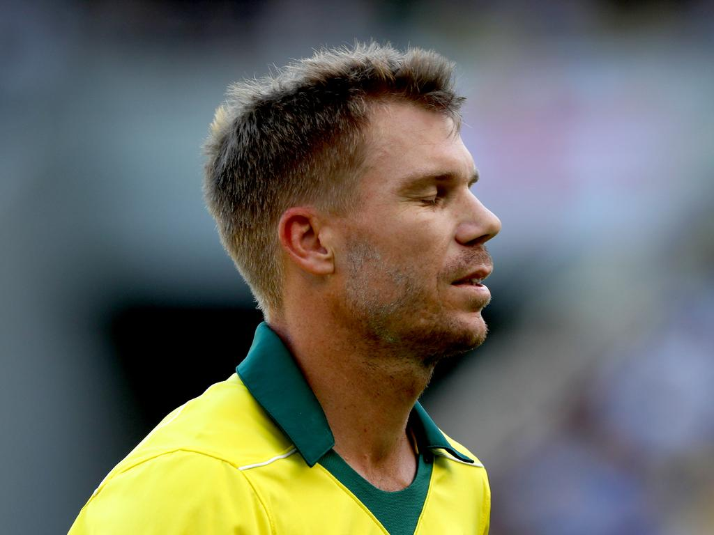 David Warner of Australia leaves the field after being bowled by Tom Curran of England during the 5th One Day International (ODI) Series cricket match between Australia and England at Optus Stadium, Perth, Sunday, January 28, 2018. (AAP Image/Richard Wainwright) NO ARCHIVING, EDITORIAL USE ONLY