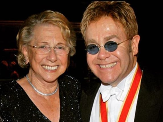 Elton John and his late mother, Sheila Farebrother.