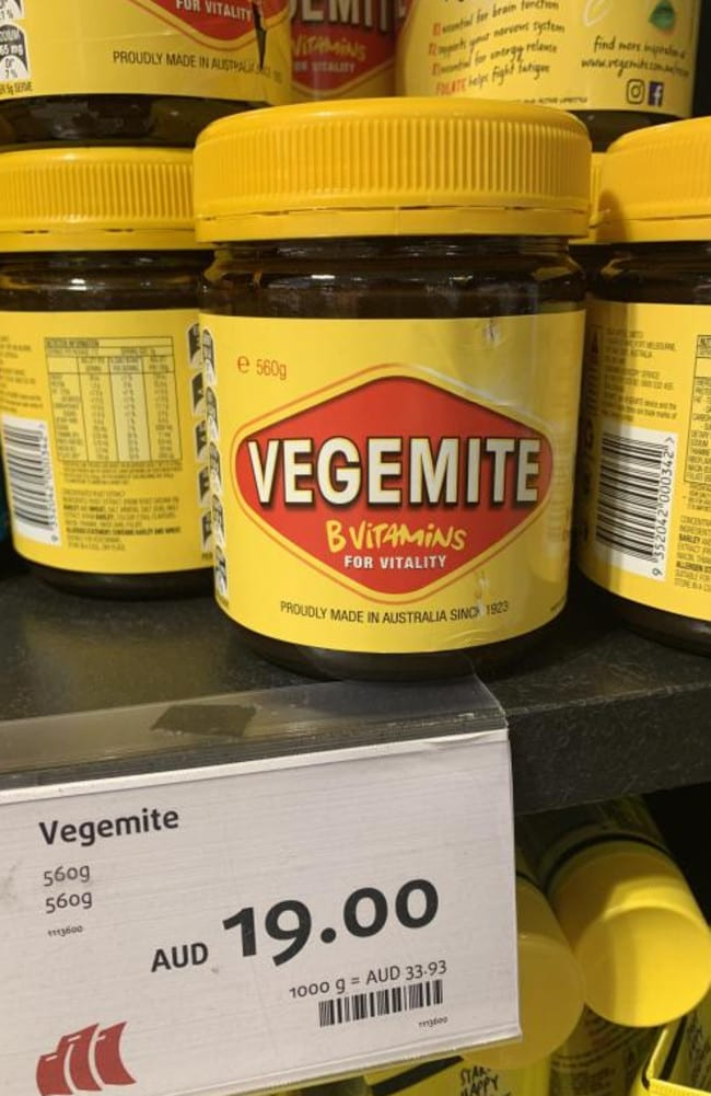 This jar of Vegemite was double the price when compared to Woolworths.
