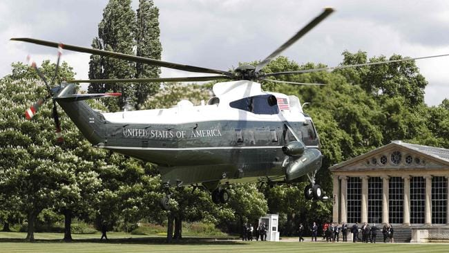 The Marine One helicopter reportedly ruined the palace lawns. Picture: Adrian Dennis/AFP