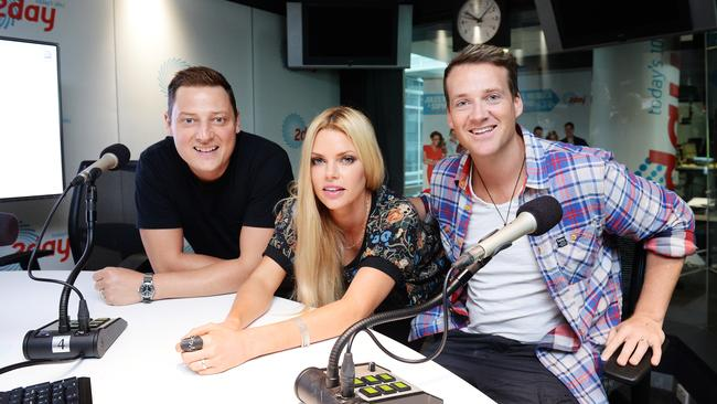 Merrick Watts, Sophie Monk and Jules Lund at 2Day FM in 2014.