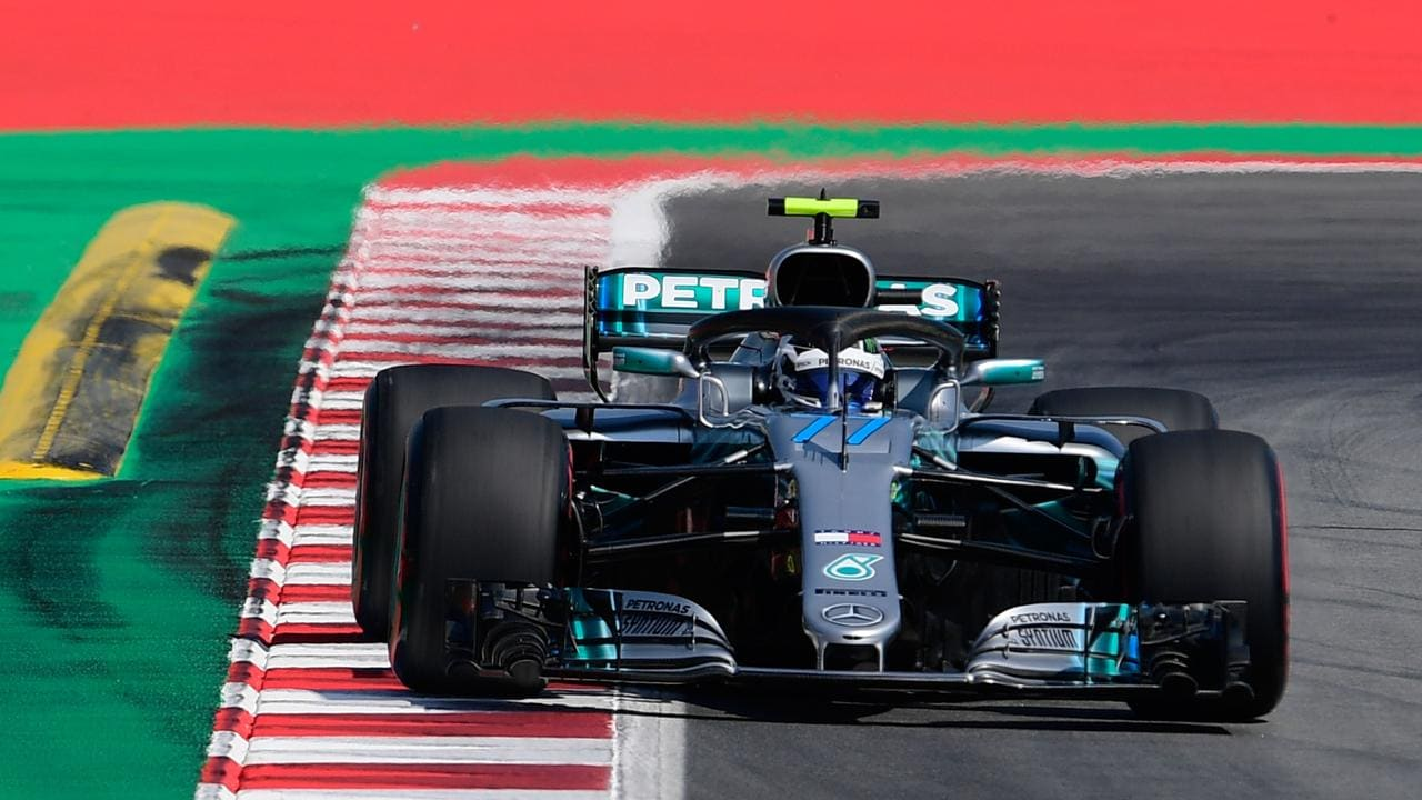 Mercedes' Finnish driver Valtteri Bottas takes part in the second practice session at the Circuit de Catalunya in Montmelo.