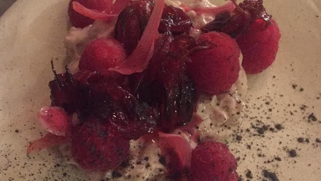 Dessert anyone: raspberries, brown rice, rosella and torch ginger