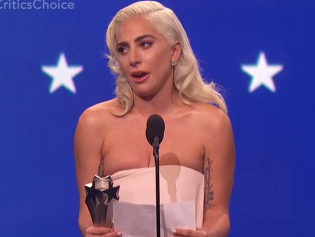 Gaga thanked her co-star and director, Bradley Cooper. Picture: FOX8