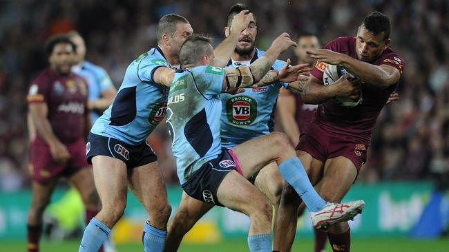 Josh Reynolds was suspended for this shoulder charge on Will Chambers.