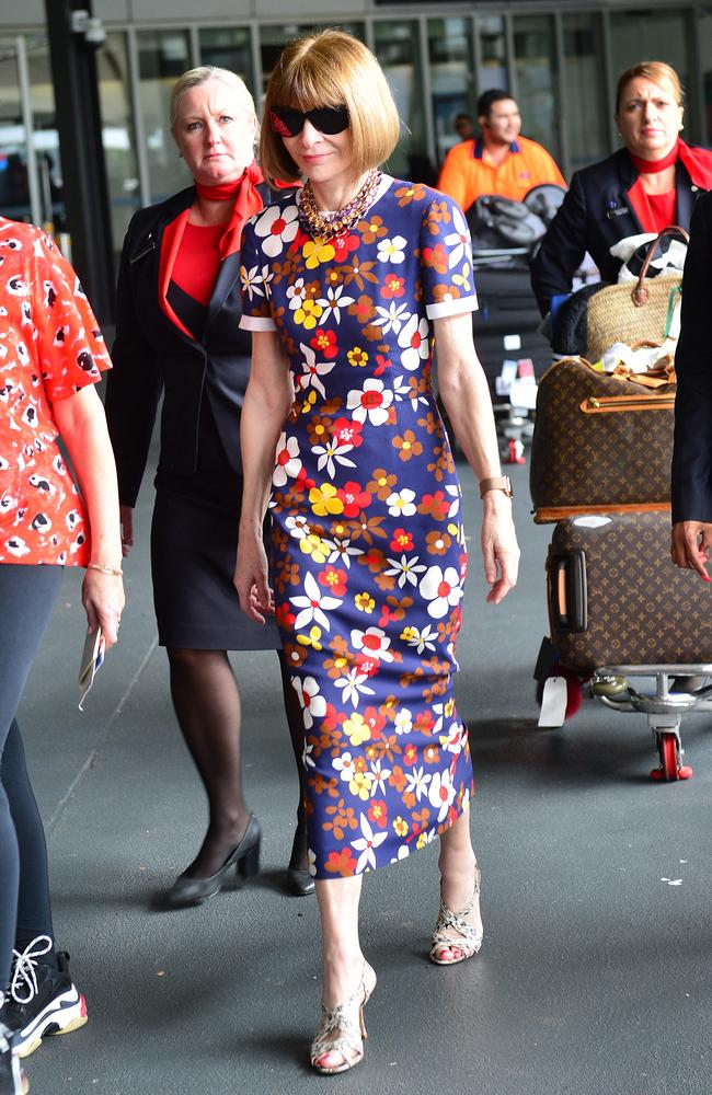 Anna Wintour wore a floral Tory Birch dress as she arrived at Melbourne Airport. Picture: Nicki Connolly