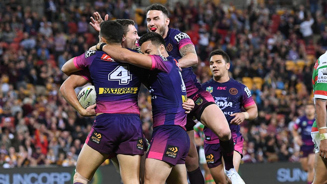Corey Oates scored a hat-trick in the Broncos win over South Sydney. (AAP Image/Dave Hunt)