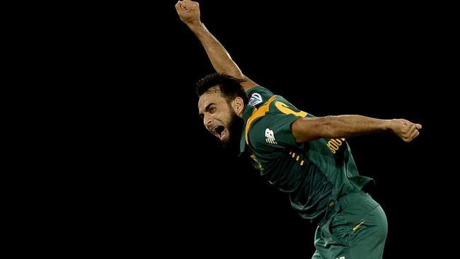 South Africa's Imran Tahir celebrates a wicket.