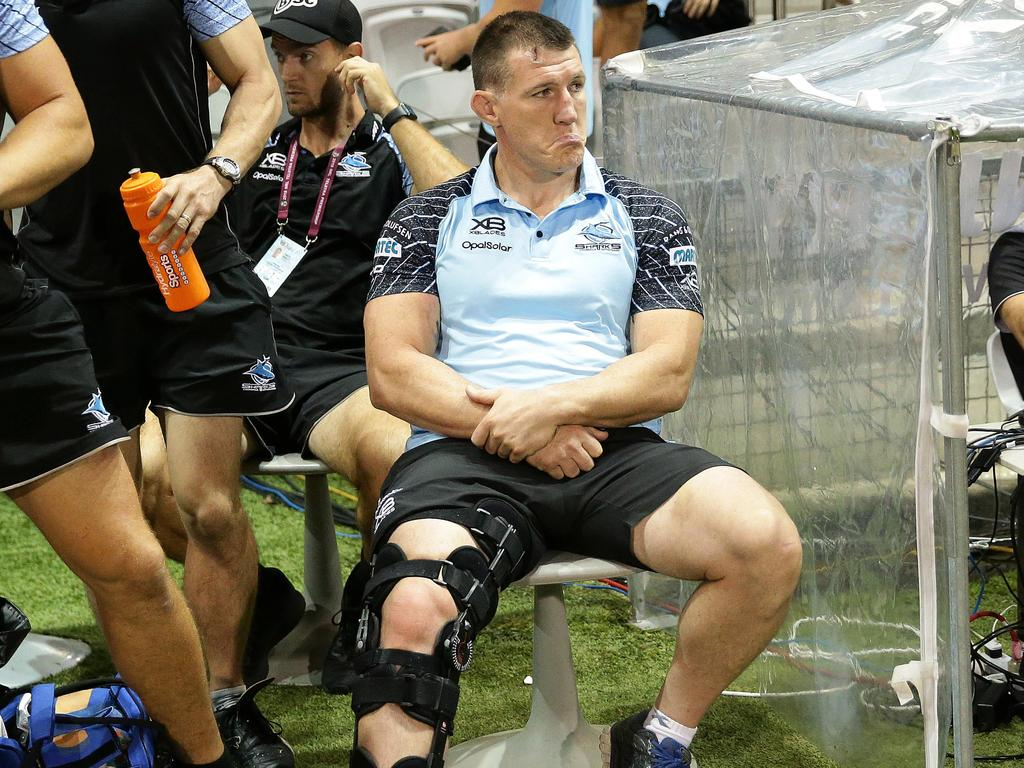 Paul Gallen suffered a knee injury. Picture: Brett Costello