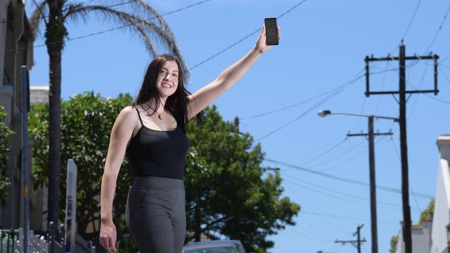 Alice Norton waits for an Uber in Sydney. Picture: Simon Bullard
