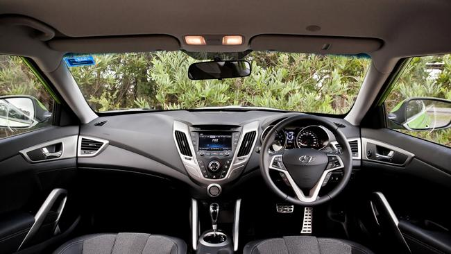Interior of 2012 Hyundai Veloster coupe.