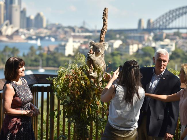 US Vice President Mike Pence, his wife Karen and daughters Audrey and Charlotte look at a koala during a visit to Taronga Park Zoo. Picture: AFP/Peter Parks