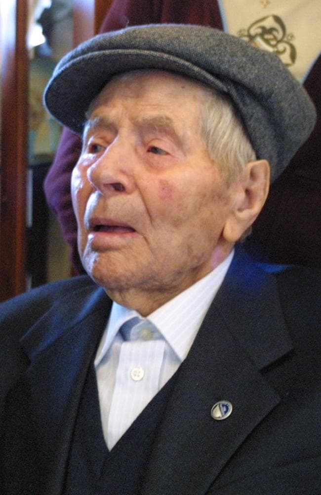 Antonio Todde, an Italian shepherd listed by Guinness World Records as the world's oldest man, on his 112th birthday.