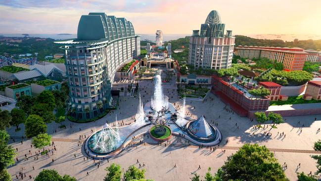 In recent decades the island has been transformed into a tourist's must-see. Pictured is the magnificent Resorts World Sentosa, which is home to many attractions. Picture: Singapore Tourism Board
