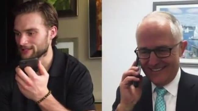 Nathan Walker receives a call from Aussie PM Malcolm Turnbull.