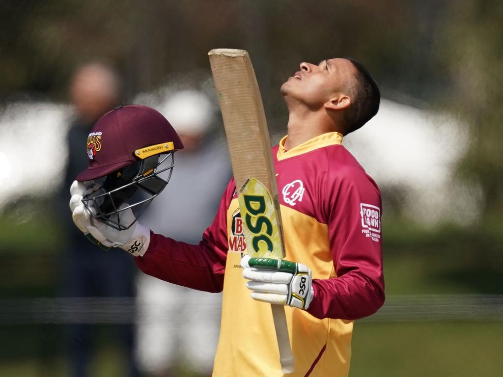 Usman Khawaja of Queensland celebrates after reaching his century during the Marsh Cup  One Day Cup Cricket match between Victoria and Queensland at Junction Oval in Melbourne, Sunday, September 29, 2019. (AAP Image/Scott Barbour) NO ARCHIVING, EDITORIAL USE ONLY, IMAGES TO BE USED FOR NEWS REPORTING PURPOSES ONLY, NO COMMERCIAL USE WHATSOEVER, NO USE IN BOOKS WITHOUT PRIOR WRITTEN CONSENT FROM AAP