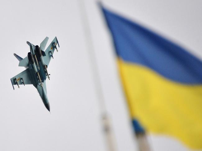 Air power ... An Ukrainian aircraft fighter flies over the headquarters of the Ukrainian forces near the north-eastern Ukrainian city of Izyum.
