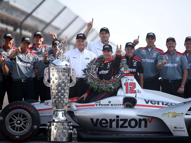 Will Power was the first Australia to win the Indy 500 and celebrated with his team. Picture: Chris Graythen/Getty Images