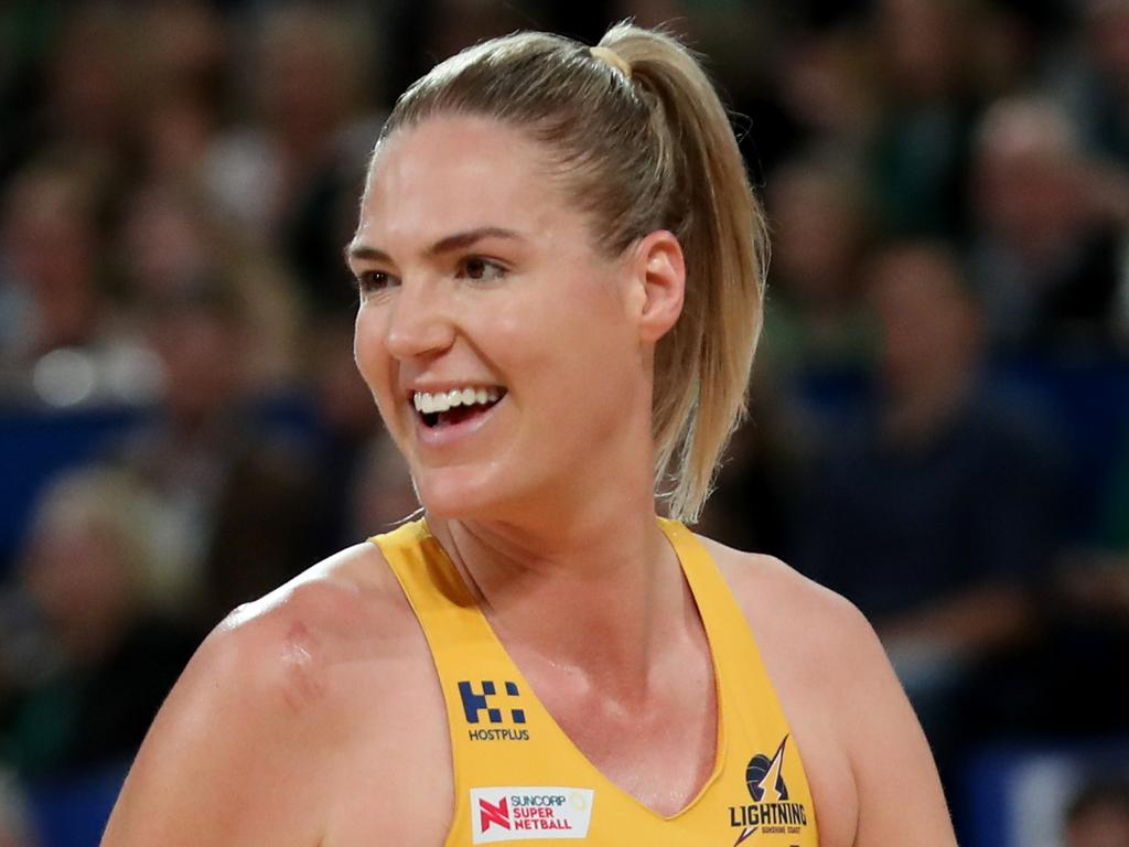 Caitlin Bassett of the Lightning reacts during the Super Netball Grand Final between the West Coast Fever and the Sunshine Coast Lightning at Perth Arena in Perth, Sunday, August 26, 2018. (AAP Image/Richard Wainwright) NO ARCHIVING, EDITORIAL USE ONLY