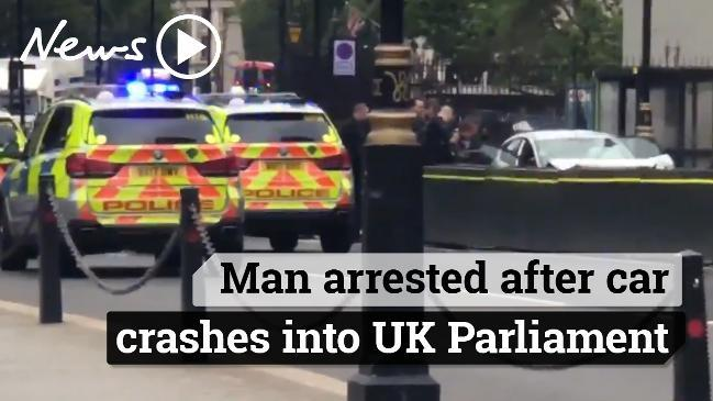 Man arrested after car crashes into UK Parliament