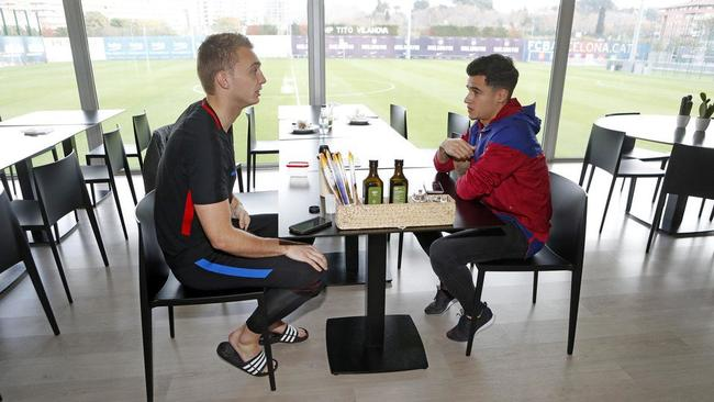Coutinho catches up with everyone, including No.2 goalkeeper Jasper Cillessen