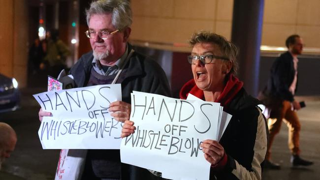 Protesters outside ABC headquarters advocating for freedom of the press. Picture: AAP /David Gray