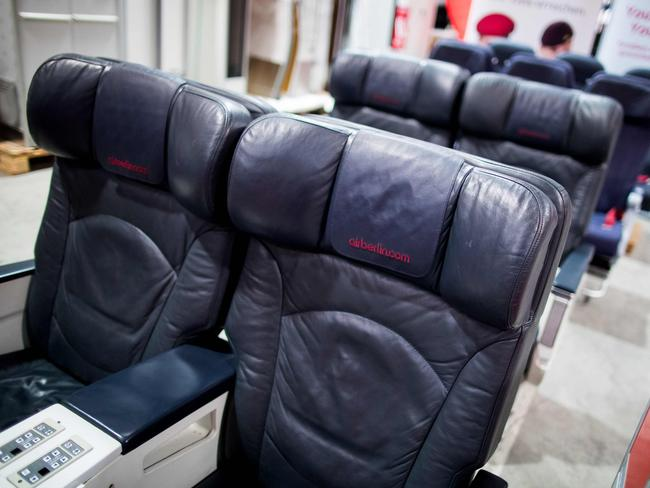 Air Berlin's leather business class seats are up for public auction until the end of the month. Picture: AFP/dpa/Marcel Kusch