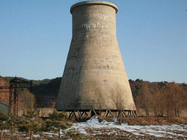 The cooling tower at the Yongbyon nuclear complex near Pyongyang, North Korea, which was destroyed in 2008. Picture: Xinhua, Wang Wei/AP