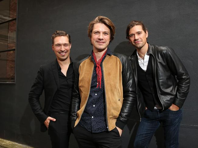 The Hanson brothers Zac, Taylor and Isaac ahead of their Sydney concerts. Picture: Carly Earl.