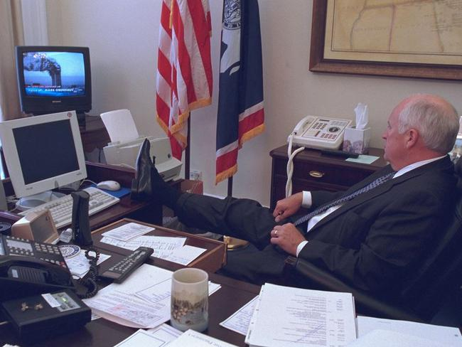 As it unfolded ... US Vice President Dick Cheney watches a broadcast of the World Trade Center buildings on fire. Picture: Flickr/US National Archives