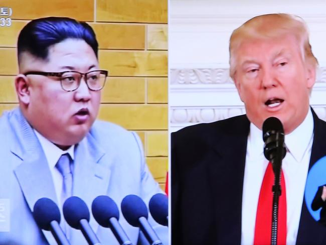Donald Trump, right, and Kim Jong Un during a news program. Picture: AP