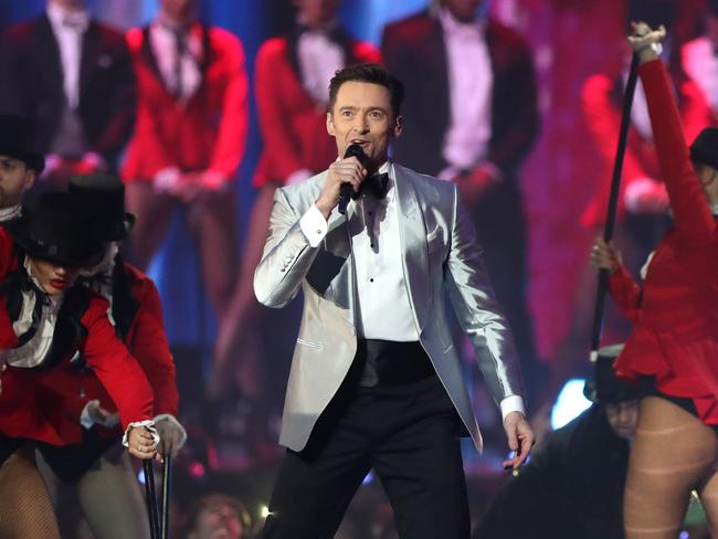 Hugh Jackman brings the showman magic during tWednesday night's BRIT Awards ceremony in London. Picture: Daniel Leal-Olivas/AFP