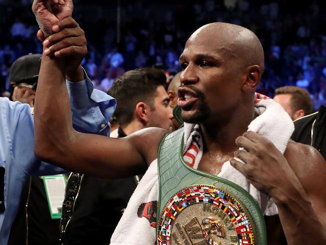 Floyd Mayweather after beating Conor McGregor.