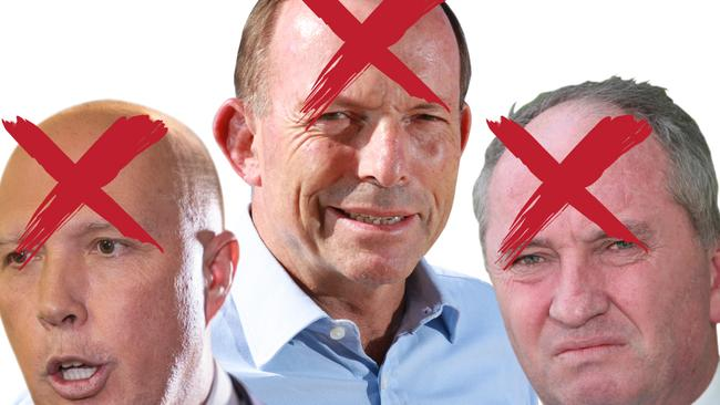 GetUp's top targets at the upcoming election. From L-R: Peter Dutton, Tony Abbott and Barnaby Joyce.
