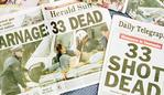 The front pages of Australian newspapers Apr 29, 1996, headlining the worst massacre in Australia's history following the crazed gunmans attack on a tourist site at Port Arthur in Tas Apr 28. (AP Photo/Russell/McPhedran) crime murder shooting