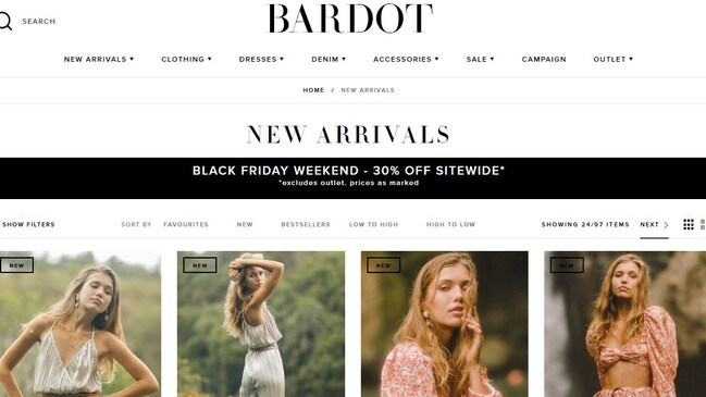 Bardot announced it had entered voluntary administration in November. Picture: Bardot