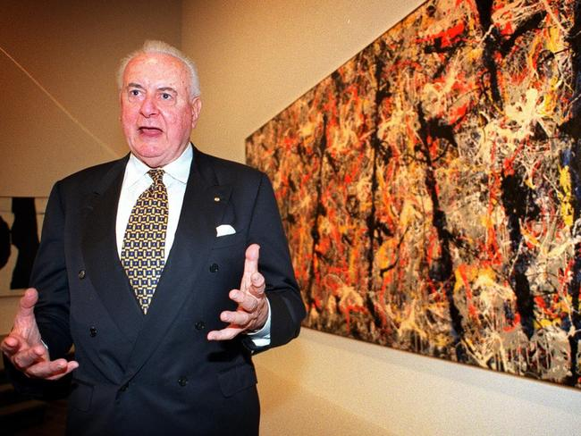 Patron of the arts ... Former prime minister Gough Whitlam in front of controversial artwork Blue Poles at the Australian National Gallery in Canberra. Picture: Ray Strange