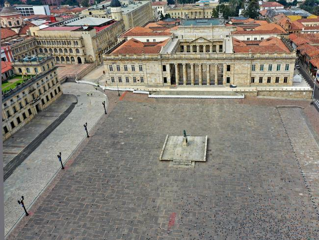 The empty Bolivar Square in Bogota, Colombia, on Wednesday. Picture: Raul Arboleda/AFP
