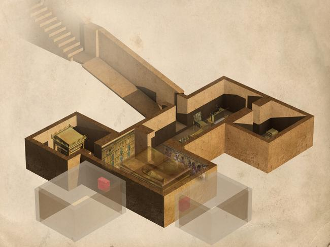 This illustration shows the layout of the tomb of the Egyptian pharaoh Tutankhamun, along with two further possible undiscovered chambers (shadowed).