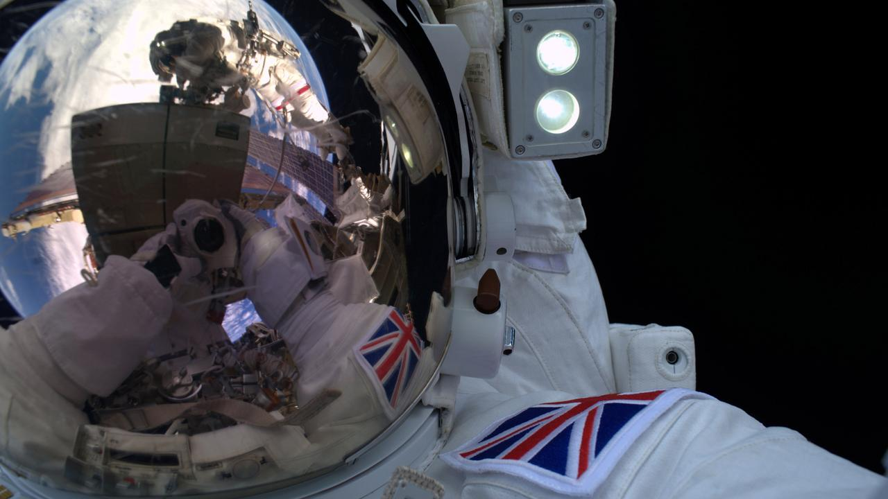 In this handout image supplied by the European Space Agency (ESA), astronaut Tim Peake takes part in his 4 hour 43 minute spacewalk to replace a failed power regulator and install cabling for the International Space Station. Picture: ESA via Getty Images