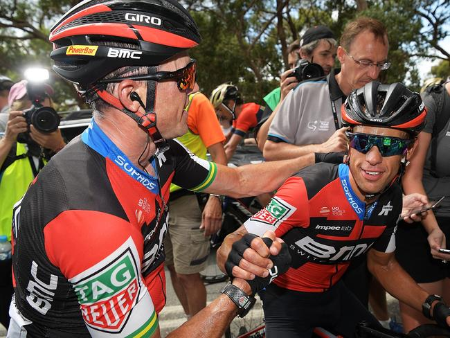 Simon Gerrans congratulates Richie Porte after winning stage five of the TDU. Picture: Getty Images