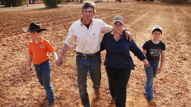 The O'Brien family from Five Ways on their drought ravaged farm. Picture: Sam Ruttyn