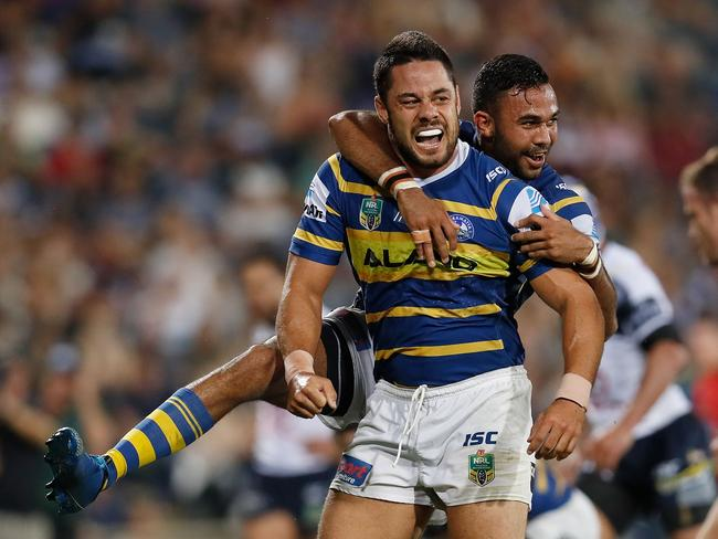 Hayne celebrates scoring for the Eels during his last season in the NRL in 2018. Picture: Jason McCawley/Getty Images