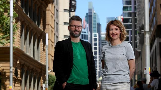 Creative Director of Sydney Architecture Festival Barnaby Bennett with designer wife Amalia Mayor pictured in Sydney CBD. Picture: Toby Zerna