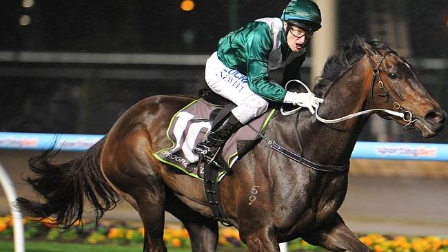 Craig Newitt celebrates as Samaready wins the Moir Stakes at Moonee Valley last spring. Picture: Getty Images