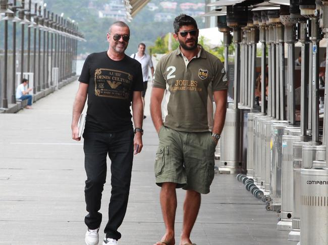 George Michael and Fadi Fawaz pictured in Sydney in 2012. Picture: Supplied
